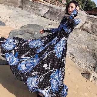 🔥Europe Spring Long Sleeve Round Neck Super Long Dress