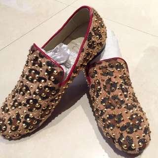 🚚 豹紋金色卯釘鞋
