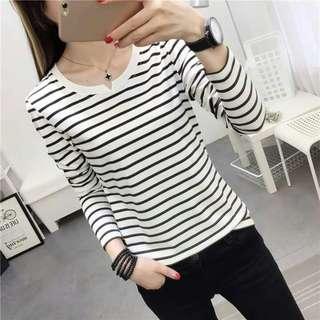 成人女裝間條長袖T恤(M-XXL)2色選 $78/件