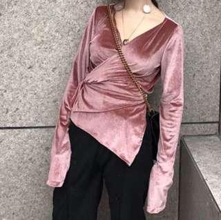 Velvet Pink Wrap Top
