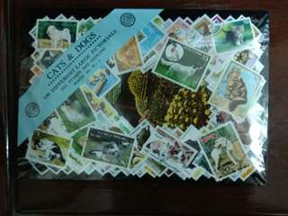Cats and Dogs 100 different large pictorial stamps pack