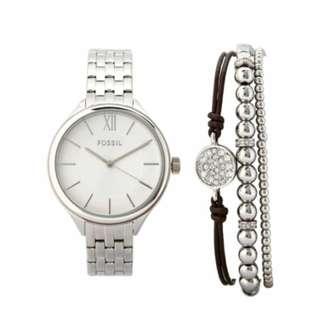 SALE FOSSIL BQ3079 SET Silver tone Watch and Two Bracelet Watch