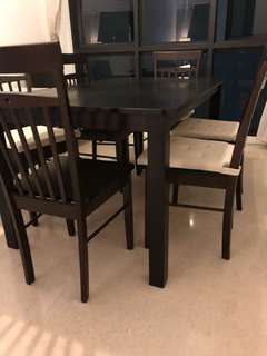 Dining Room wooden table & 6 chairs