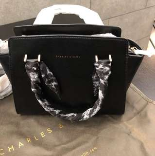Charles & Keith Black Style Bag 100% New with Scarf