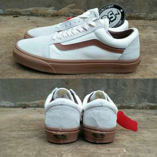 Vans oldskool white brown gum sole