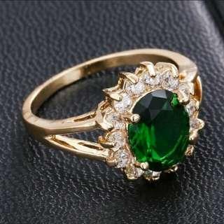 Fashion 18k Yellow gold emerald ring