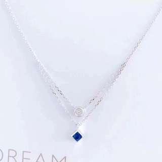 天然藍寶石鑽石18k白金雙層頸鏈🎁獨家全新生日女朋友禮物