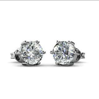 18K White gold plated Solitaire earrings (crystals from Swarovski). Hypoallergenic. In stock.