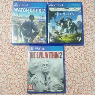 PS4 The Evil Within 2 / Horizon Zero Dawn / Watch dogs 2