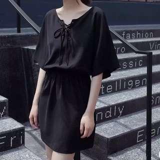 黑色雪紡連身裙