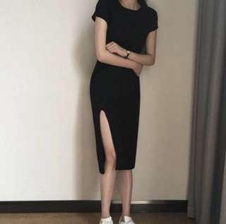 Slit dress (Black)