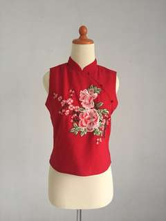 Red cheongsam embroidered top