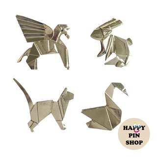 3D Origami Animal Pins (Silver)