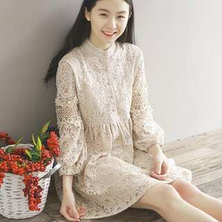 Crew Neck Button Up Lace Mesh Smock Dress (KR095131)