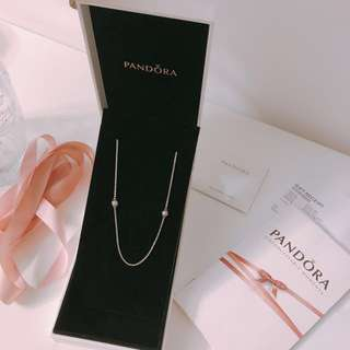 New Authentic Pandora 925 silver & crystal Necklace