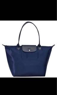 Longchamp La pliage Neo 2605 medium size Long handle tote bag navy blue
