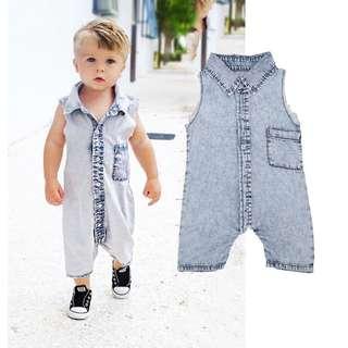 [PO] Denim Newborn Baby Bodysuit Romper Infant Boy Girl Jumpsuit Clothes Outfit