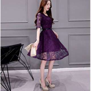 Lace Mesh Fit & Flare Midi Dress (KR095603)