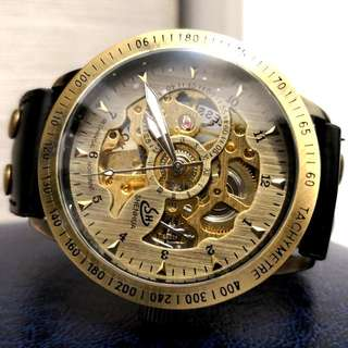 全自動機械復古金鋼陀飛輪真皮手錶 Automatic Mechanical Retro Gold and Steel Tourbillon Genuine Leather Watch