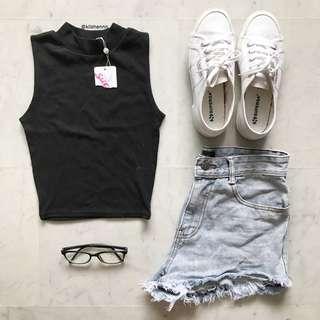 Supre Sleeveless Black High Collar Crop Top