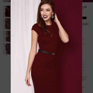 Premium Kate Midi Dress in Wine