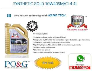 PLATINUM OIL LUBRICANT - SYNTHETIC GOLD 10W40