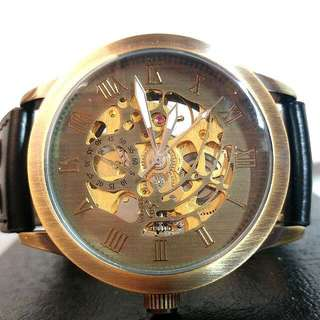 全自動機械復古金鋼陀飛輪真皮手錶 Automatic Mechanical Retro Gold and Steel Tourbillon Genuine Leather Watch