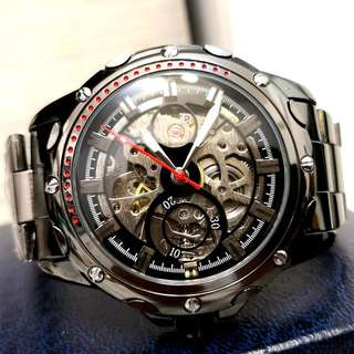 全自動黑鋼陀飛輪機械鋼帶手錶 Automatic Black Steel Tourbillon Mechanical Stainless Steel Watch