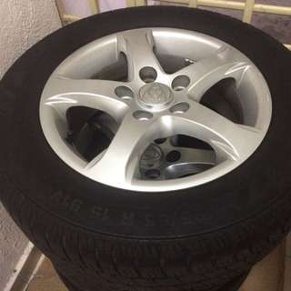 "Original Exora Rim 15"" With Tyres"