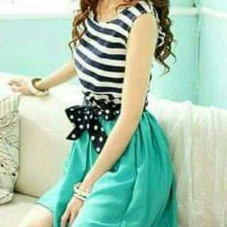 Korean Dress Blue Striped With Ribbon