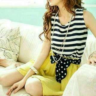 Korean Striped Yellow Dress With Ribbon