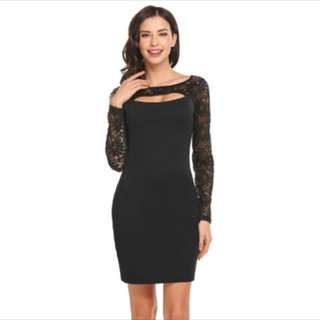 Long Sleeve Cut Out Lace Dress