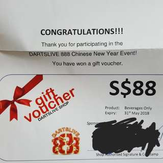 Dartslive iDarts voucher (drinks only)