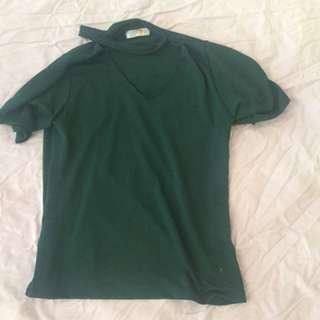 Green choker shirt