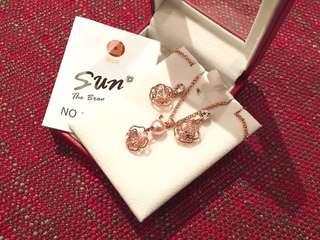 全新Taiwan Sun Jewelry Rose Gold Pearl Necklace & Earrings Set