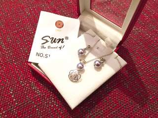 全新Taiwan Sun Jewelry Silver Pearl Necklace & Earrings Set