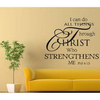 Quote I Can Do All Things Letter Words Removable Wall Sticker Decals Mural Decor
