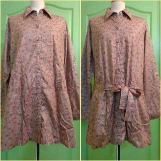 Pretty Floral Modest Tunic Top Shirt Size Large