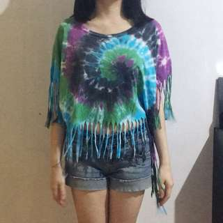 FOREVER21 Tie Dye Cropped Top with fringe detail
