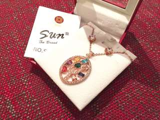 全新Taiwan Sun Jewelry Rose Gold with Colour Stones Jewelry Set