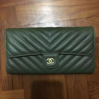 CHANEL Chevron Lambskin Long Wallet