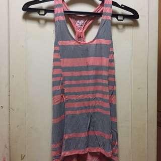 pink & grey stripes tank no brand