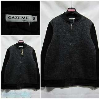 🚚 {就是愛二手} 潮流品牌 GAZEME 全新 男 黑/灰色 毛料拼接款 飛行款設計 內鋪棉夾克 外套 大衣 超值推薦~