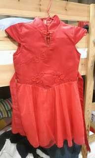 Girl Cheongsam Qipao Red Dress