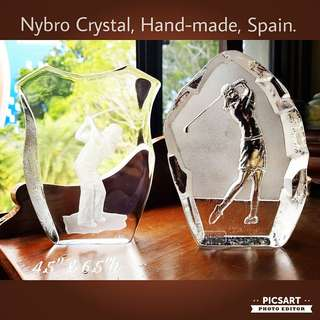 """Vintage Nybro Sweden Etched Crystal Display or Paperweight, one shows man golfer in action and the other lady golfer. 4.5"""" across, 6.5""""h. Mint Condition. Each $18 or both for $28 Clearance Offer, sms 96337309."""