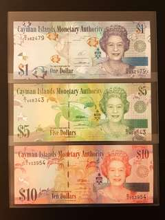 cayman islands monetary authority $1, $5 & $10 banknote brand new