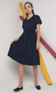 Hollyhoque Frazer Bow Midi Dress (Navy) - S /BNWT