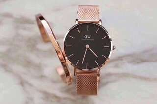 DW Daniel Wellington 32mm black rose gold petite watch + cuff