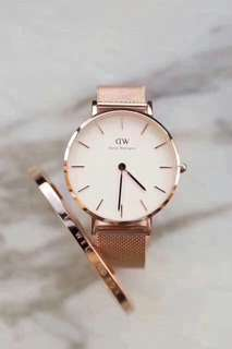 DW Daniel Wellington 32mm white rose gold watch + cuff