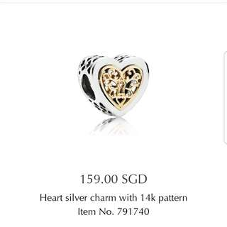 Pandora Heart Silver Charm with 14k pattern
